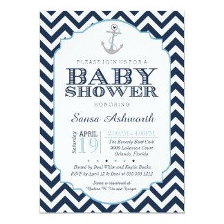 Invitation nautique de baby shower, bleu de garçon