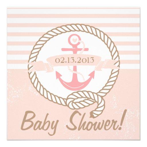 Invitation nautique de baby shower de bannière