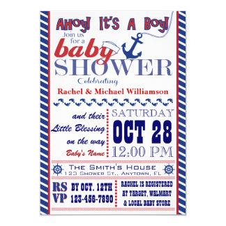 Invitation nautique de baby shower de bébé