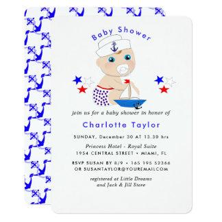 Invitation nautique de baby shower de bébé mignon