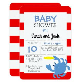 Invitation nautique de baby shower de crabe bleu