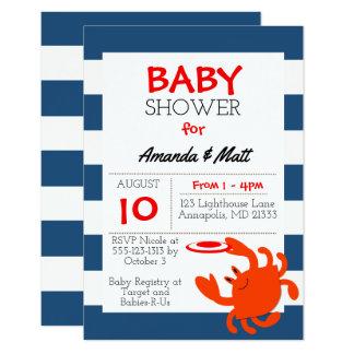 Invitation nautique de baby shower de crabe de