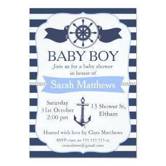 Invitation nautique de baby shower de garçons