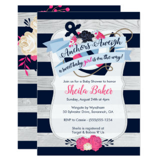 Invitation nautique de baby shower - fille