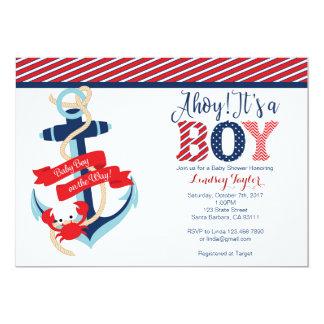 Invitation nautique de baby shower pour le garçon
