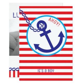 Invitation nautique de bébé de rayure de marin de