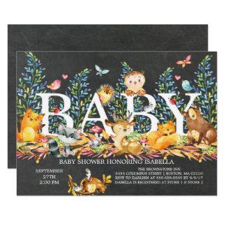 Invitation neutre de baby shower de région boisée