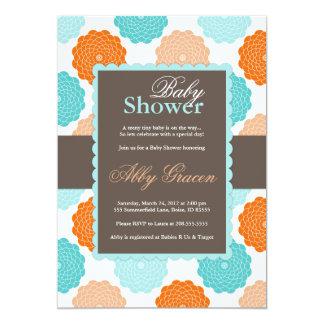Invitation neutre de baby shower, orange, Aqua,