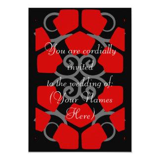 Invitation noir, blanc, et rouge de mariage de