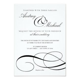 Invitation noir et blanc de mariage de