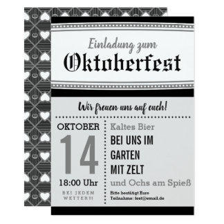 Invitation noir et blanc d'Oktoberfest