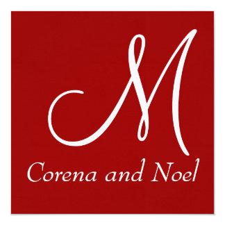 Invitation noir et blanc rouge élégant de mariage