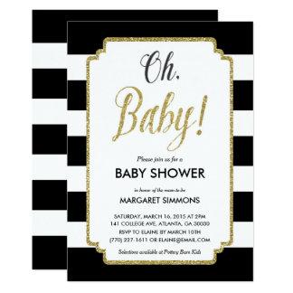 Invitation, noir et or de baby shower de carton d'invitation  12,7 cm x 17,78 cm