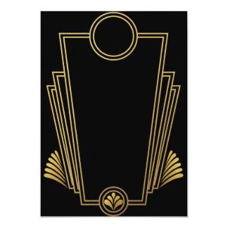 Invitation noire d'art déco d'or
