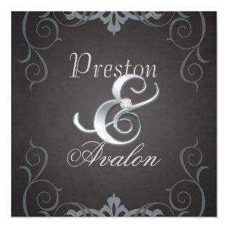Invitation noire de rouleau d'argent de texture carton d'invitation  13,33 cm
