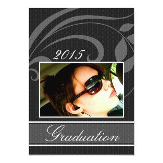 Invitation noire d'obtention du diplôme de partie carton d'invitation  12,7 cm x 17,78 cm