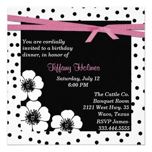 Invitation noire et blanche d'anniversaire de poin