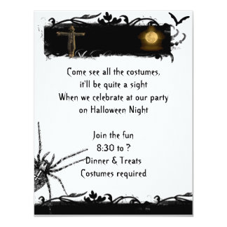 Invitation noire et blanche de Halloween de pleine