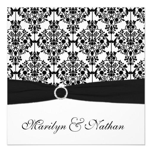 Invitation noire et blanche de mariage damassé