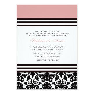 Invitation noire et blanche de mariage damassé de