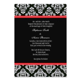 Invitation noire et blanche de mariage damassé carton d'invitation  12,7 cm x 17,78 cm