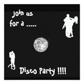 Invitation noire et blanche de partie de disco carton d'invitation  13,33 cm