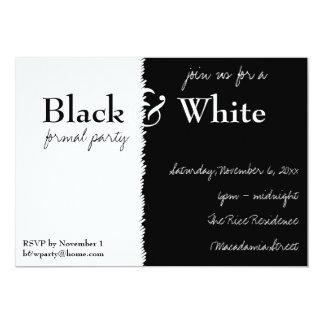 Invitation noire et blanche de partie de thème carton d'invitation  12,7 cm x 17,78 cm