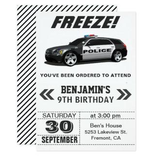 Invitation noire moderne de fête d'anniversaire de