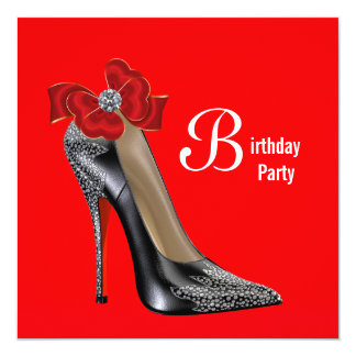Invitation noire rouge de fête d'anniversaire de