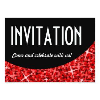 "Invitation noire rouge de ""invitation"" de courbe carton d'invitation  12,7 cm x 17,78 cm"