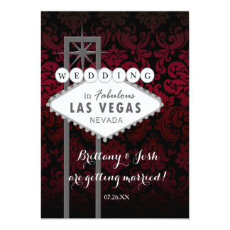 Invitation noire rouge de Las Vegas mariage