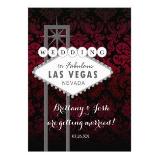 Invitation noire rouge de Las Vegas mariage damass
