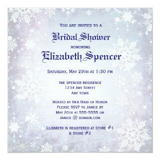 Invitation nuptiale bleue hivernale de douche