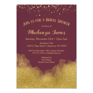 Invitation nuptiale de douche de confettis d'or de