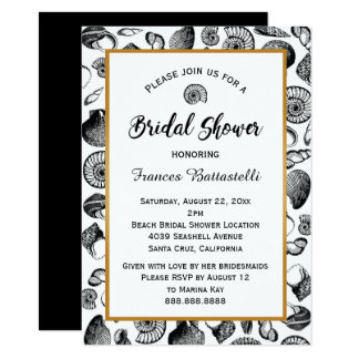 Invitation nuptiale de douche de coquillages de