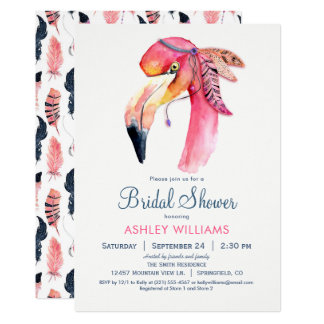 Invitation nuptiale de douche de flamant rose chic