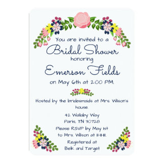 Invitation nuptiale de douche de guirlande florale