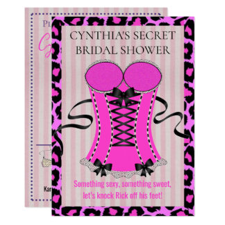 Invitation nuptiale de douche de lingerie rose