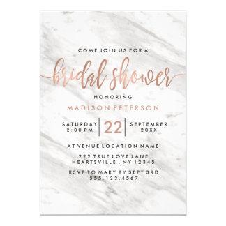 Invitation nuptiale de douche de marbre blanc et