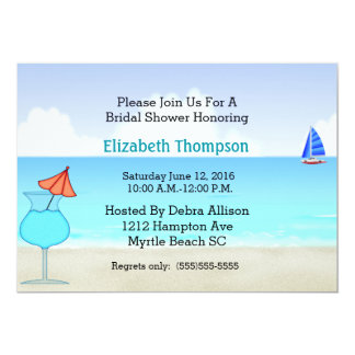 Invitation nuptiale de douche de plage carton d'invitation  12,7 cm x 17,78 cm