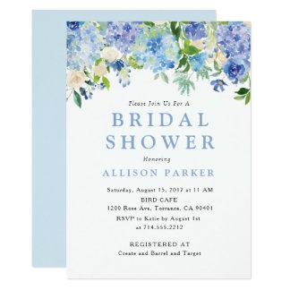 Invitation nuptiale de douche d'hortensia bleu