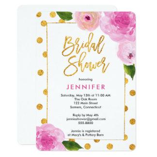 Invitation nuptiale de douche, fleurs roses +