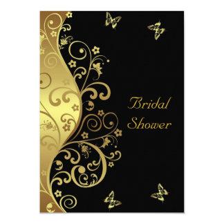 Invitation nuptiale de douche--Remous d'or et 5x7