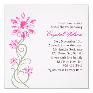 Invitation nuptiale de la douche du cristal (rose)