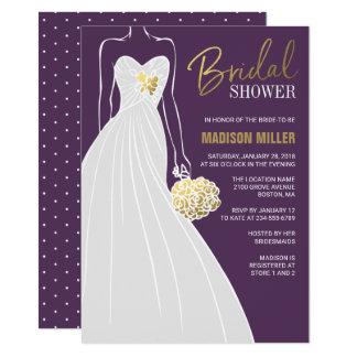 Invitation nuptiale élégante | de douche pourpre