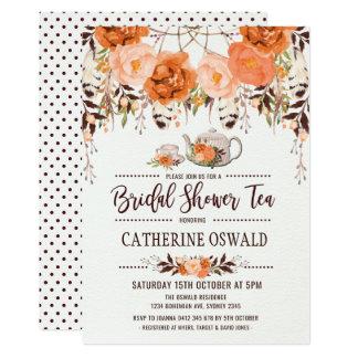 Invitation nuptiale floral de thé de Boho