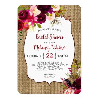Invitation nuptiale floral rouge de douche de