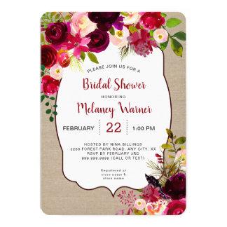 Invitation nuptiale floral rouge rustique de