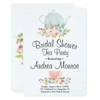 Invitation nuptiale florale de coutume de thé de