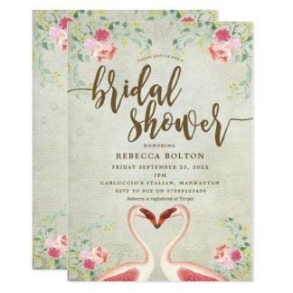 invitation nuptiale florale de douche de flamant